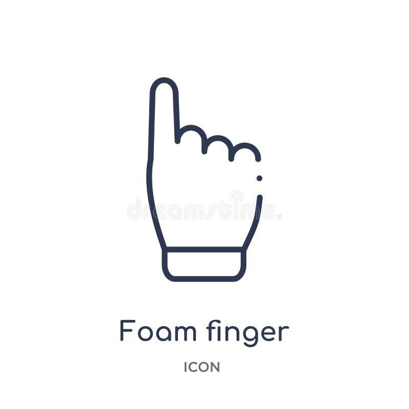 Ícone linear do dedo da espuma da coleção do esboço do futebol americano Linha fina vetor do dedo da espuma isolado no fundo bran ilustração royalty free