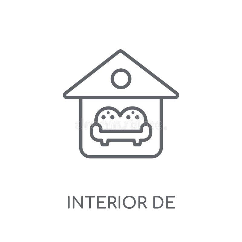 Ícone linear do design de interiores Logotipo moderno do design de interiores do esboço ilustração royalty free
