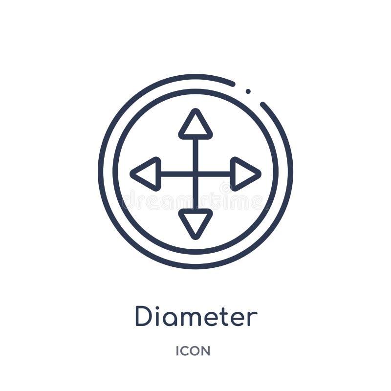 Ícone linear do diâmetro da coleção do esboço da geometria Linha fina ícone do diâmetro isolado no fundo branco diâmetro na moda ilustração stock
