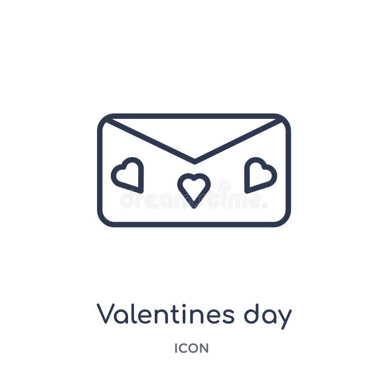 Ícone linear do dia de Valentim da coleção do esboço da festa de anos Linha fina vetor do dia de Valentim isolado no fundo branco ilustração do vetor