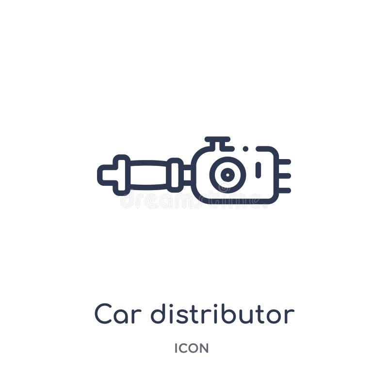 Ícone linear do distribuidor do carro da coleção do esboço das peças do carro Linha fina vetor do distribuidor do carro isolado n ilustração royalty free
