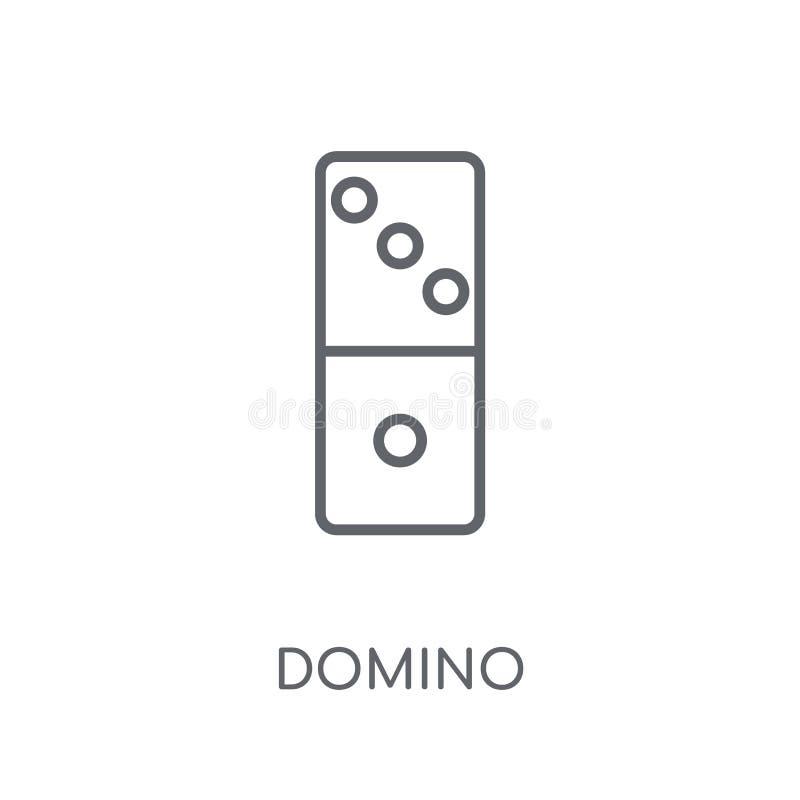Ícone linear do dominó Conceito moderno do logotipo do dominó do esboço no branco ilustração stock