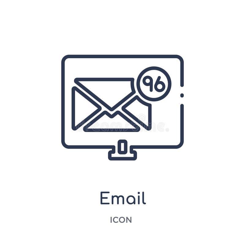 Ícone linear do e-mail da coleção do esboço do Blogger e do influencer Linha fina vetor do e-mail isolado no fundo branco Email ilustração stock