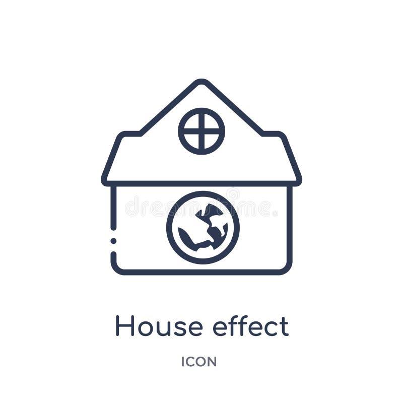 Ícone linear do efeito da casa da coleção do esboço da ecologia Linha fina vetor do efeito da casa isolado no fundo branco efeito ilustração stock