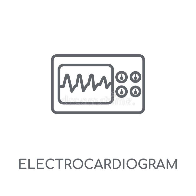 Ícone linear do eletrocardiograma Eletrocardiograma moderno do esboço ilustração do vetor