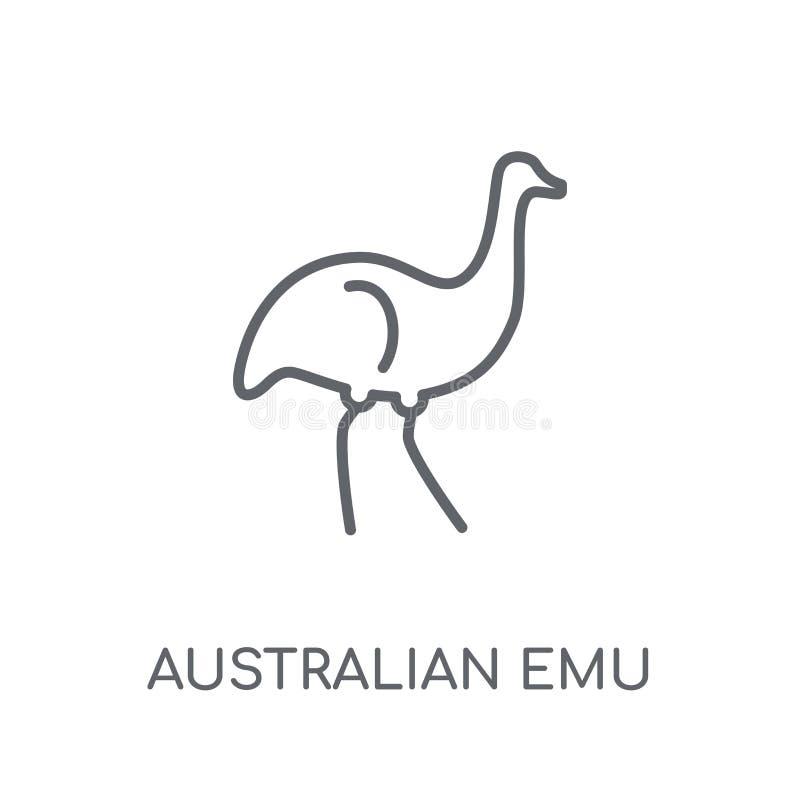 Ícone linear do ema australiano Logotipo australiano c do ema do esboço moderno ilustração stock