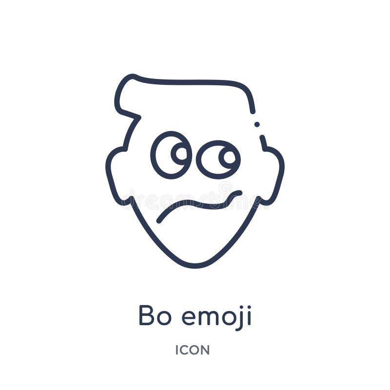 Ícone linear do emoji da BO da coleção do esboço de Emoji Linha fina vetor do emoji da BO isolado no fundo branco emoji da BO na  ilustração royalty free