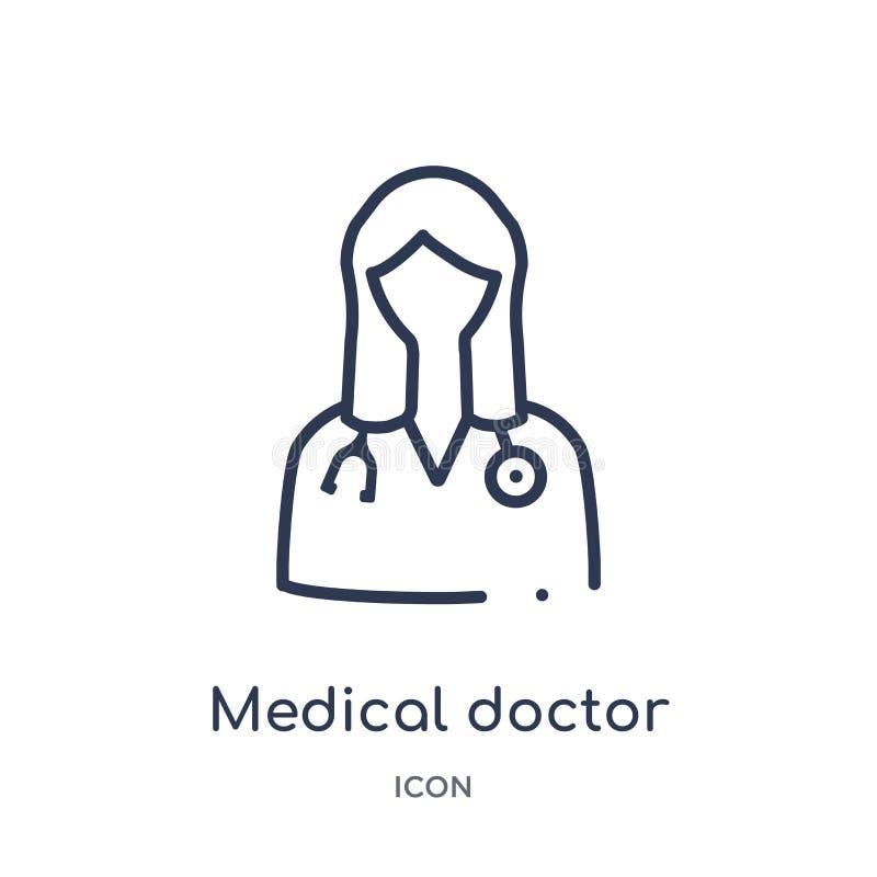 Ícone linear do especialista do médico da coleção médica do esboço Linha fina ícone do especialista do médico isolado no branco ilustração royalty free