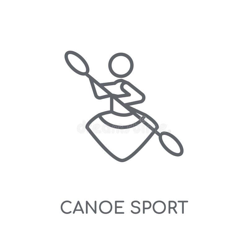 Ícone linear do esporte da canoa Conceito moderno do logotipo do esporte da canoa do esboço ilustração do vetor