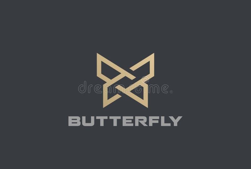 Ícone linear do estilo do molde do vetor do sumário do projeto geométrico do logotipo da borboleta ilustração stock