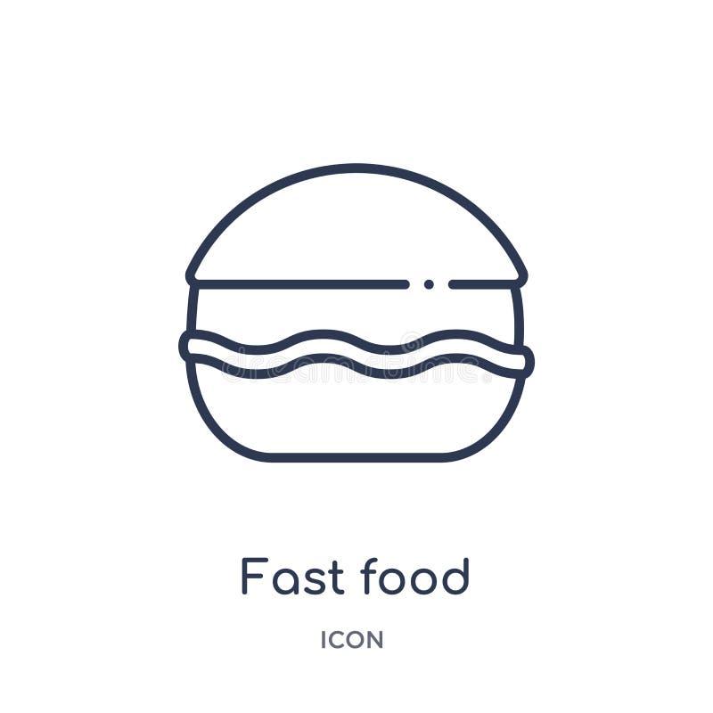 Ícone linear do fast food da coleção do esboço da saúde Linha fina ícone do fast food isolado no fundo branco fast food na moda ilustração stock