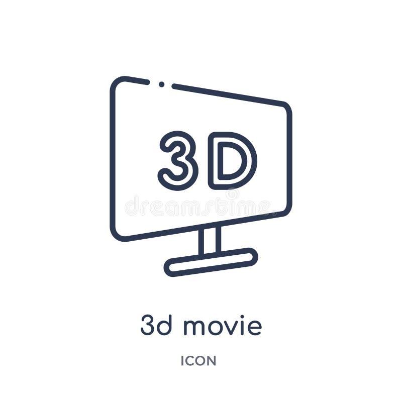 Ícone linear do filme 3d da coleção do esboço do cinema Linha fina vetor do filme de 3d isolado no fundo branco filme 3d na moda ilustração stock