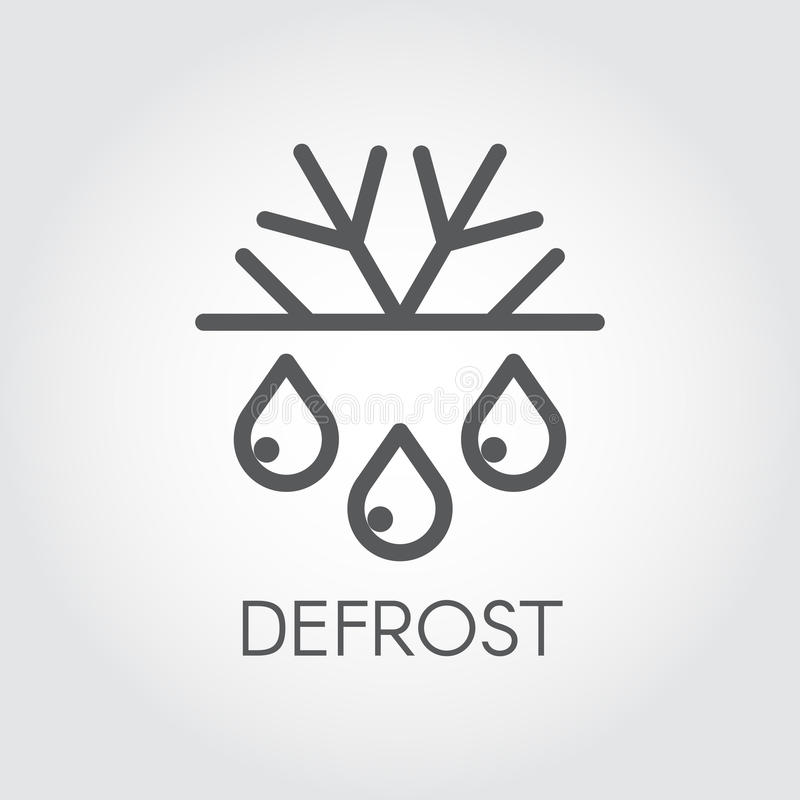 Ícone linear do floco de neve e do curso fino da gota Degele e congele o logotipo do conceito Símbolo do refrigerador ou do condi ilustração royalty free
