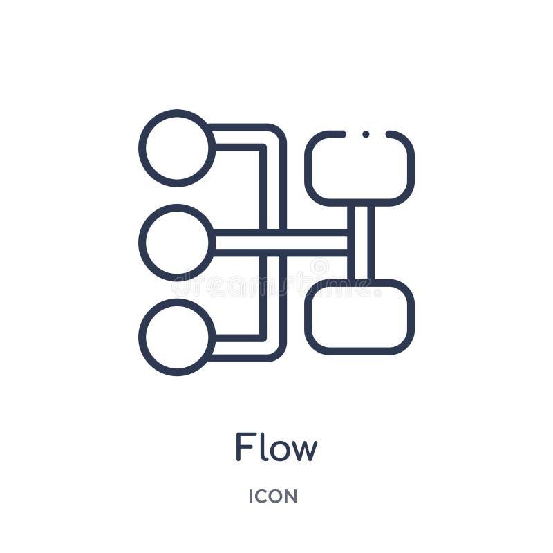 Ícone linear do fluxo da coleção do esboço da geometria Linha fina ícone do fluxo isolado no fundo branco ilustração na moda do f ilustração do vetor