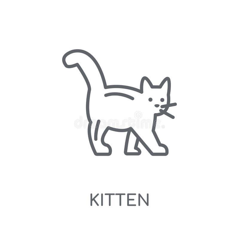 ícone linear do gatinho Conceito moderno do logotipo do gatinho do esboço no branco ilustração do vetor