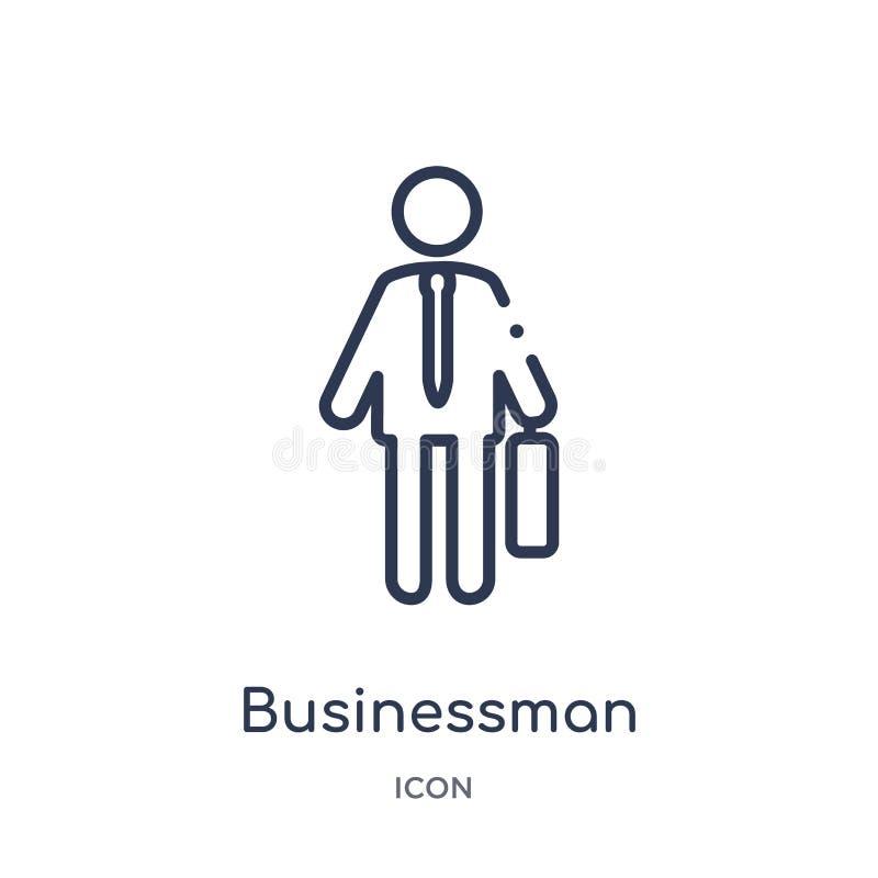 Ícone linear do homem de negócios da coleção do esboço dos lucros do trabalho Linha fina ícone do homem de negócios isolado no fu ilustração royalty free