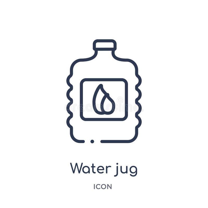 Ícone linear do jarro de água da coleção do esboço das bebidas Linha fina vetor do jarro de água isolado no fundo branco jarro de ilustração do vetor