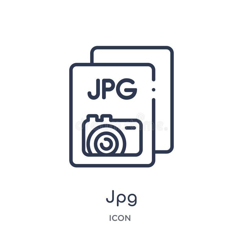 Ícone linear do jpg do tipo de arquivo coleção do esboço Linha fina vetor do jpg isolado no fundo branco ilustração na moda do jp ilustração stock