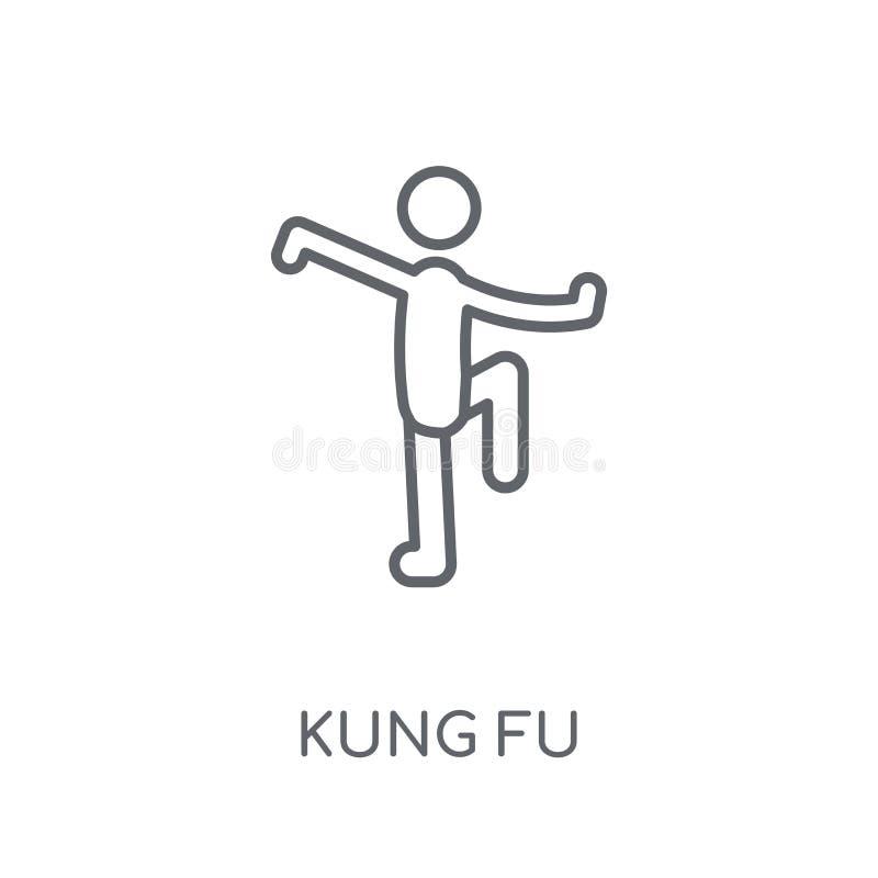ícone linear do kung-fu Conceito moderno do logotipo do kung-fu do esboço no whit ilustração do vetor