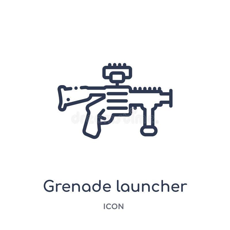 Ícone linear do lançador de granadas da coleção do esboço do exército e da guerra Linha fina vetor do lançador de granadas isolad ilustração royalty free