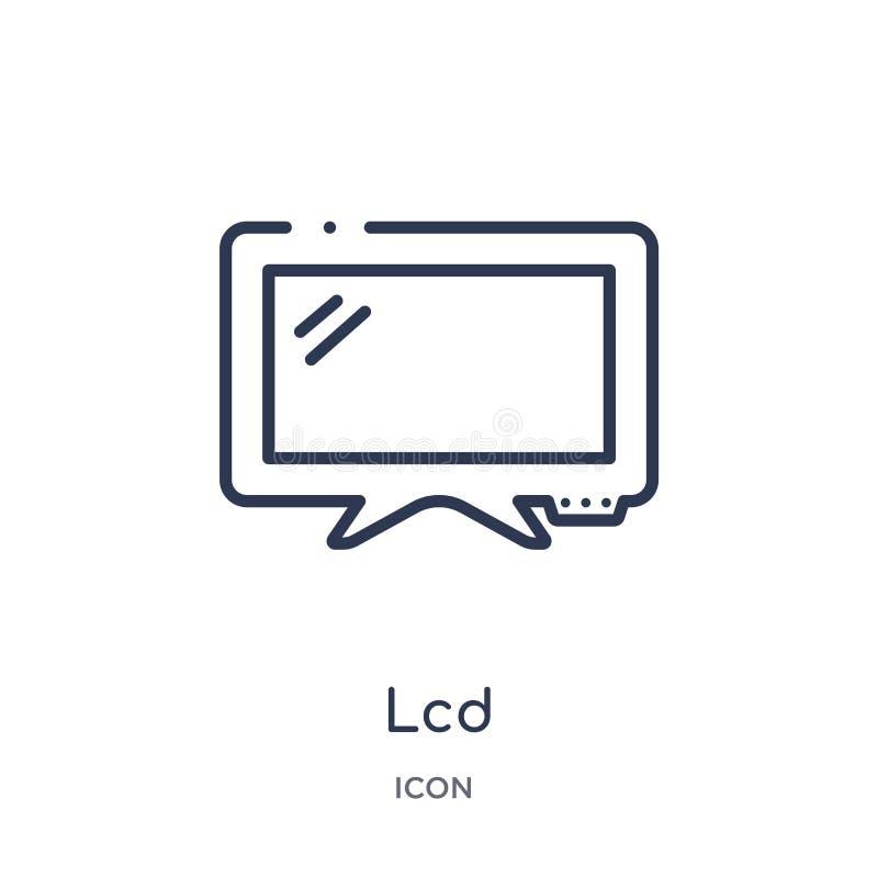 Ícone linear do lcd da coleção do esboço dos dispositivos eletrónicos Linha fina vetor do lcd isolado no fundo branco lcd na moda ilustração royalty free