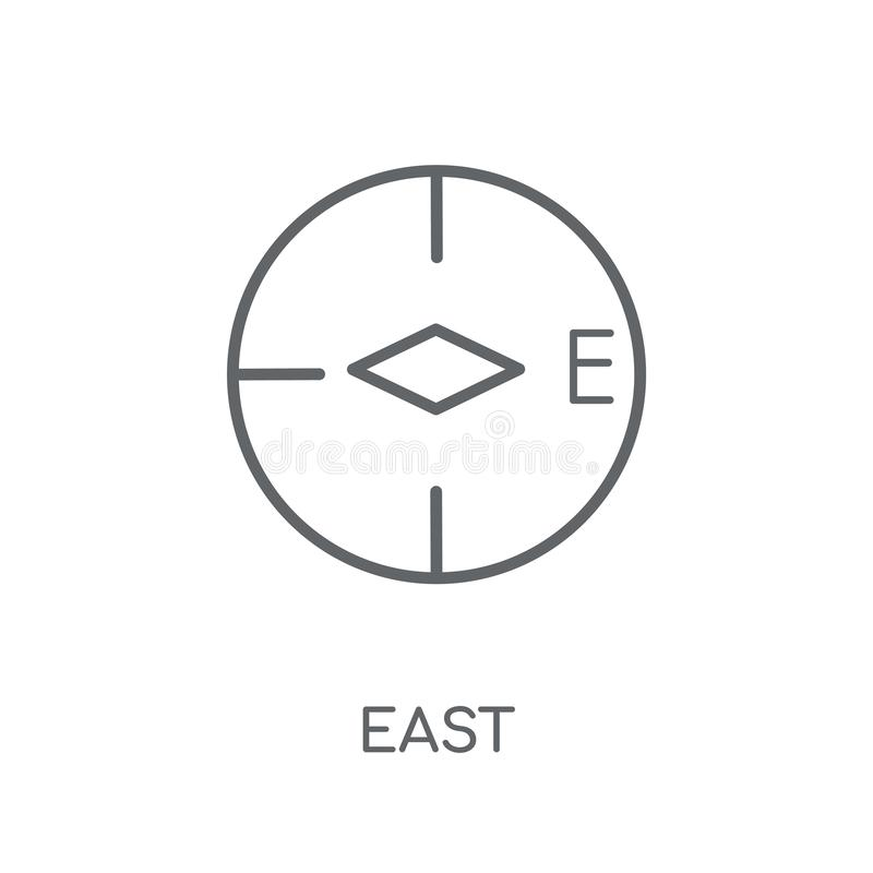 Ícone linear do leste Conceito do leste do logotipo do esboço moderno na parte traseira branca ilustração royalty free