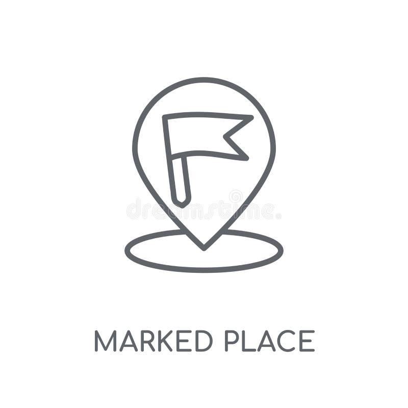 Ícone linear do lugar marcado Conce marcado do logotipo do lugar do esboço moderno ilustração royalty free