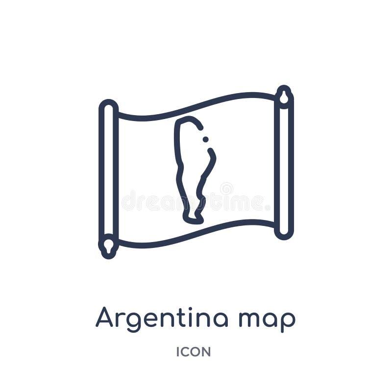 Ícone linear do mapa de Argentina da coleção do esboço de Countrymaps Linha fina vetor do mapa de Argentina isolado no fundo bran ilustração royalty free