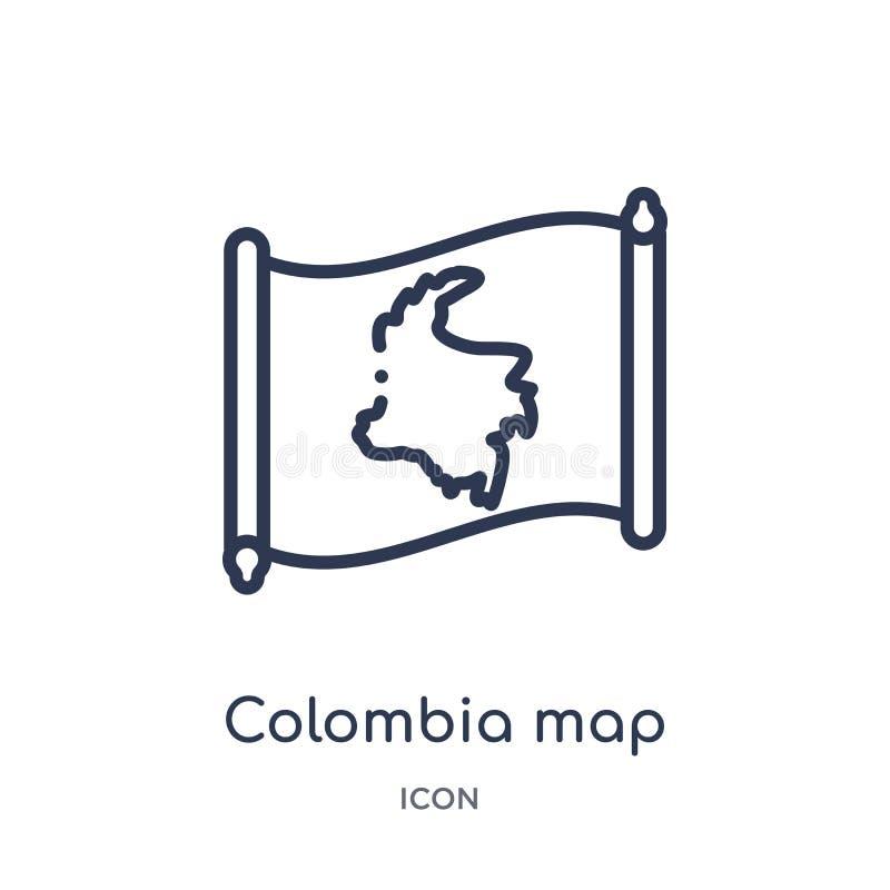 Ícone linear do mapa de Colômbia da coleção do esboço de Countrymaps Linha fina vetor do mapa de Colômbia isolado no fundo branco ilustração stock