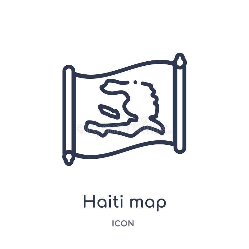 Ícone linear do mapa de haiti da coleção do esboço de Countrymaps Linha fina vetor do mapa de haiti isolado no fundo branco Mapa  ilustração do vetor
