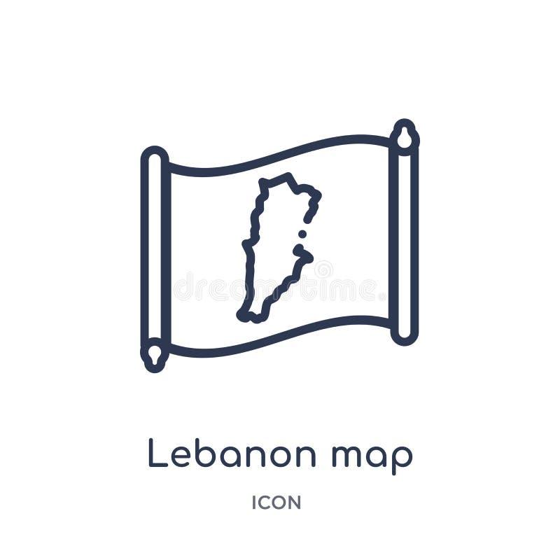 Ícone linear do mapa de Líbano da coleção do esboço de Countrymaps Linha fina vetor do mapa de Líbano isolado no fundo branco Líb ilustração stock