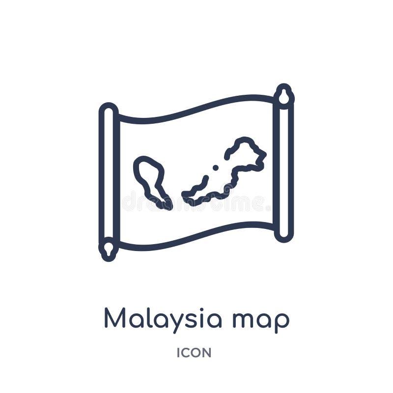 Ícone linear do mapa de malaysia da coleção do esboço de Countrymaps Linha fina vetor do mapa de malaysia isolado no fundo branco ilustração stock