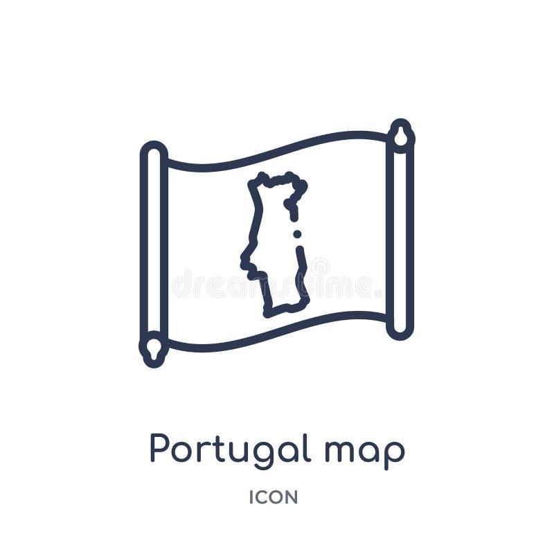 Ícone linear do mapa de Portugal da coleção do esboço de Countrymaps Linha fina vetor do mapa de Portugal isolado no fundo branco ilustração do vetor