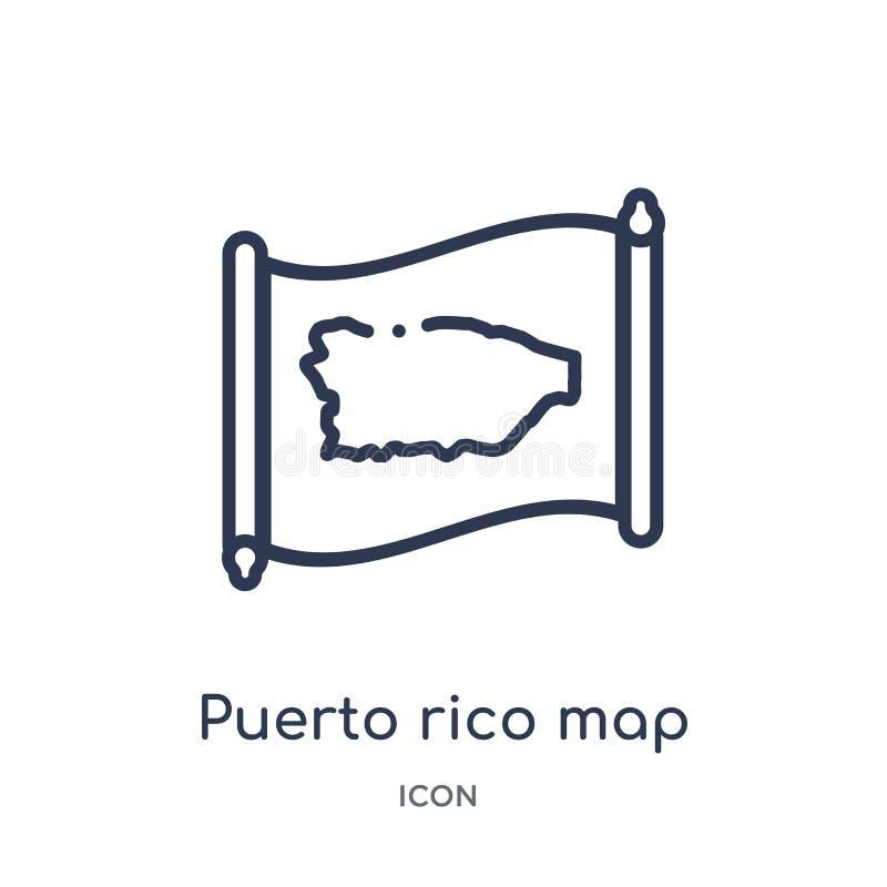 Ícone linear do mapa de Puerto Rico da coleção do esboço de Countrymaps Linha fina vetor do mapa de Puerto Rico isolado no fundo  ilustração stock