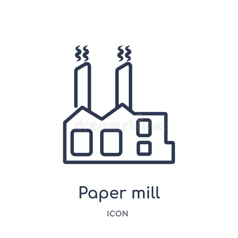 Ícone linear do moinho de papel da coleção do esboço geral Linha fina ícone do moinho de papel isolado no fundo branco moinho de  ilustração royalty free