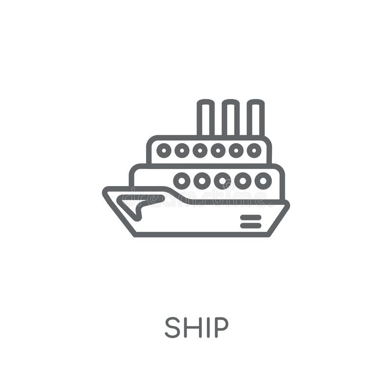 Ícone linear do navio Conceito moderno do logotipo do navio do esboço na parte traseira branca ilustração stock