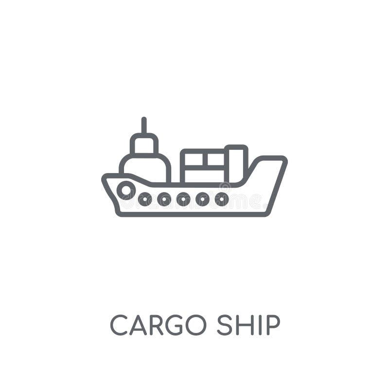 Ícone linear do navio de carga Conceito moderno o do logotipo do navio de carga do esboço ilustração stock