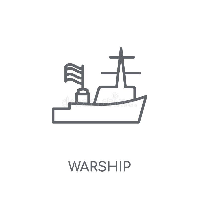 Ícone linear do navio de guerra Conceito moderno do logotipo do navio de guerra do esboço no whit ilustração royalty free