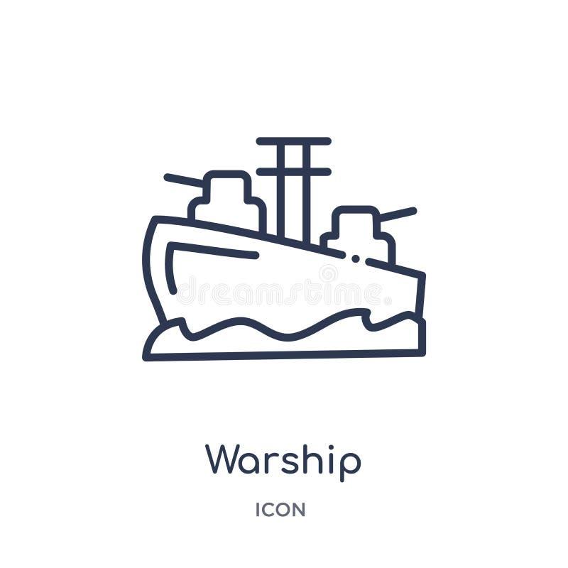 Ícone linear do navio de guerra da coleção do esboço do exército e da guerra Linha fina vetor do navio de guerra isolado no fundo ilustração stock