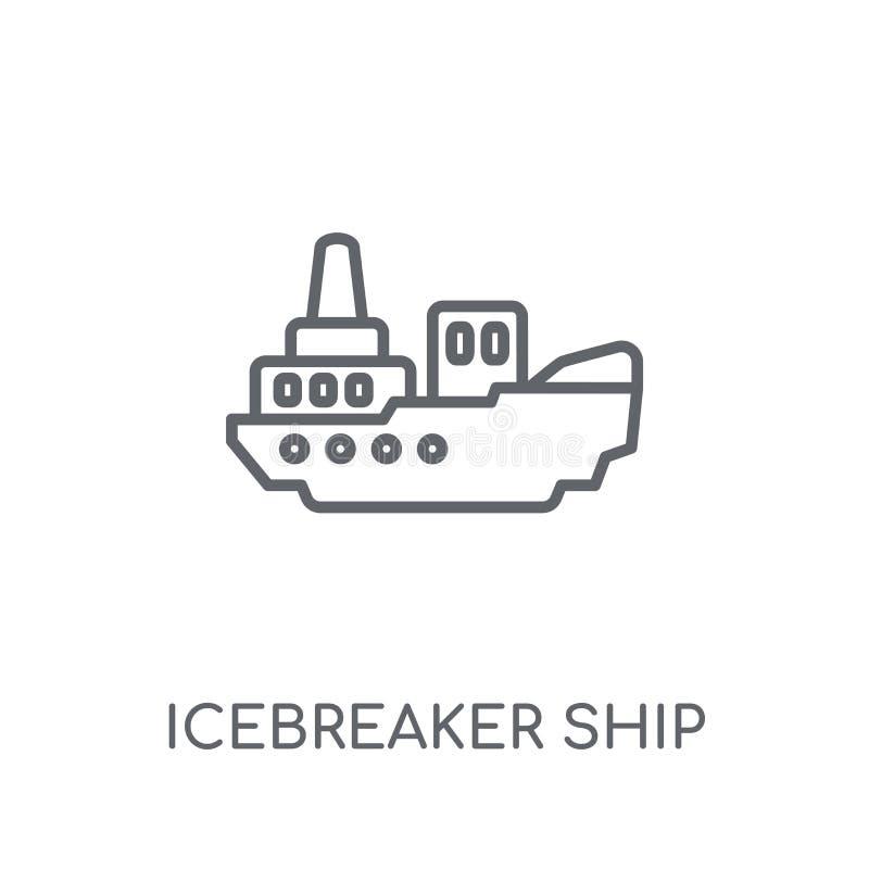 ícone linear do navio do quebra-gelo Logotipo moderno do navio do quebra-gelo do esboço ilustração royalty free