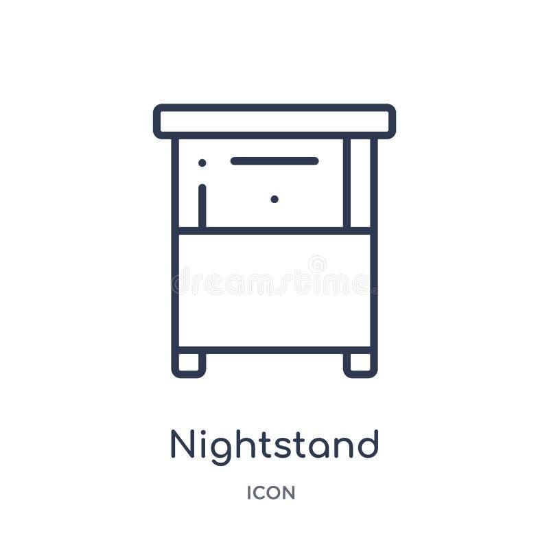 Ícone linear do nightstand da coleção do esboço da mobília & do agregado familiar Linha fina ícone do nightstand isolado no fundo ilustração royalty free