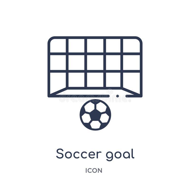 Ícone linear do objetivo do futebol da coleção do esboço do futebol Linha fina vetor do objetivo do futebol isolado no fundo bran ilustração royalty free