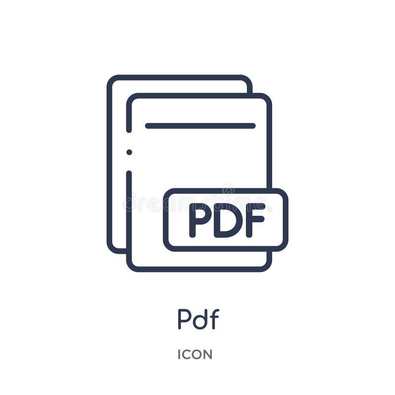 Ícone linear do pdf do tipo de arquivo coleção do esboço Linha fina vetor do pdf isolado no fundo branco ilustração na moda do pd ilustração do vetor