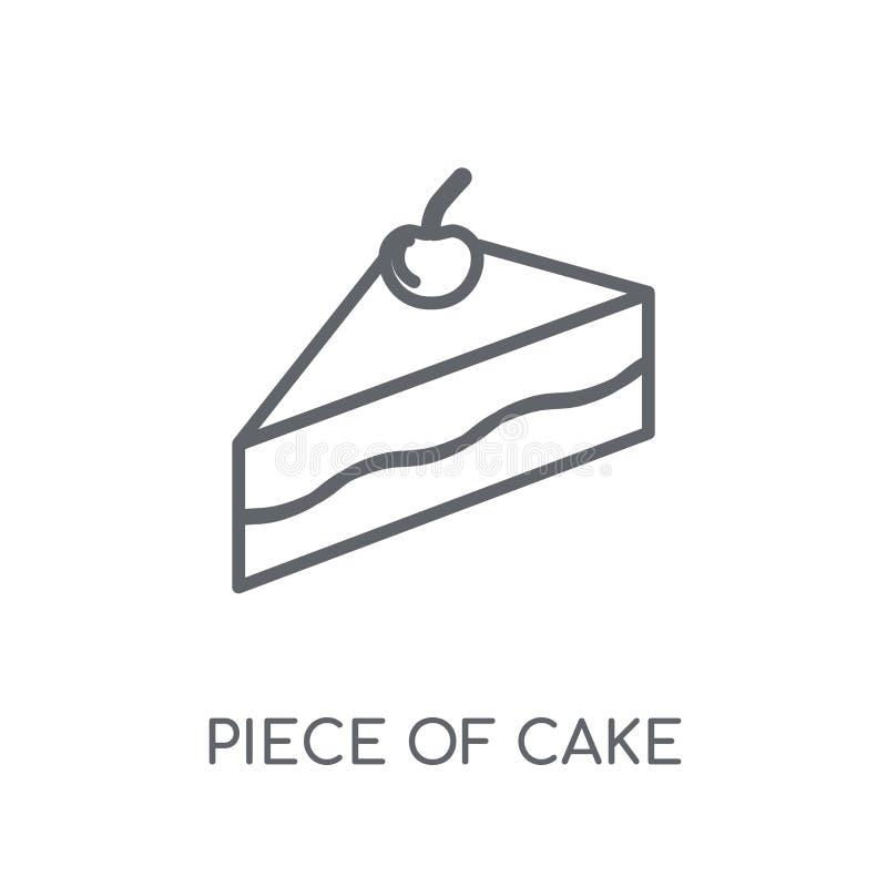 Ícone linear do pedaço de bolo Engodo moderno do logotipo do pedaço de bolo do esboço ilustração do vetor