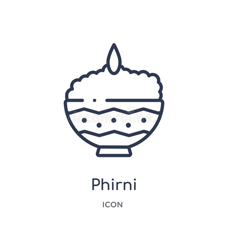 Ícone linear do phirni da coleção do esboço da Índia e do holi Linha fina ícone do phirni isolado no fundo branco phirni na moda ilustração stock