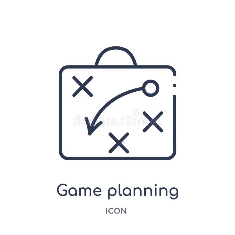 Ícone linear do planeamento do jogo da coleção do esboço do futebol americano Linha fina vetor do planeamento do jogo isolado no  ilustração do vetor