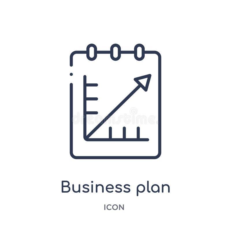 Ícone linear do plano de negócios da coleção do esboço do negócio e da analítica Linha fina vetor do plano de negócios isolado no ilustração royalty free
