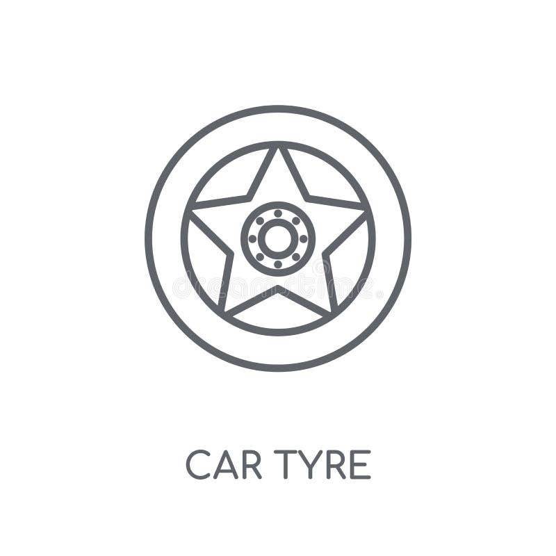 ícone linear do pneumático do carro Conceito moderno do logotipo do pneumático do carro do esboço no wh ilustração royalty free