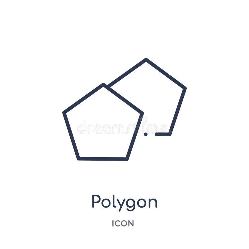 Ícone linear do polígono da figura geométrica coleção do esboço Linha fina ícone do polígono isolado no fundo branco polígono na  ilustração stock