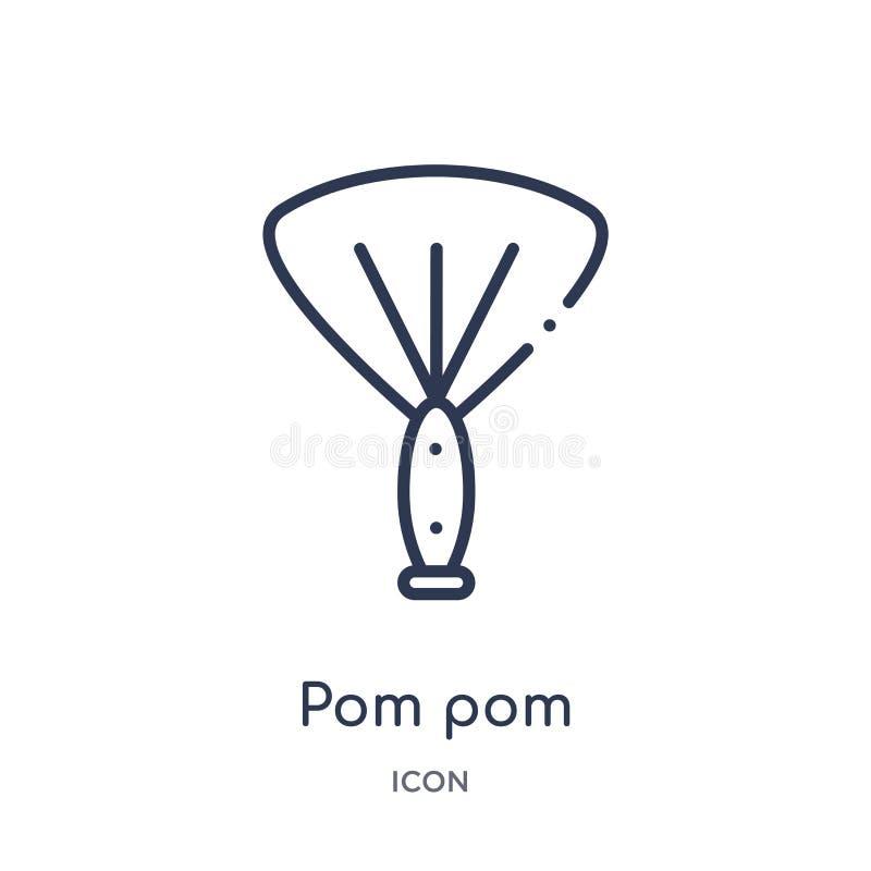 Ícone linear do pom do pom da coleção do esboço do entretenimento Linha fina ícone do pom do pom isolado no fundo branco pom do p ilustração stock